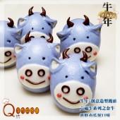 Q坊-六福牛-牛年之牛轉乾坤系列_蝶豆花藍牛-手工創意造型饅頭
