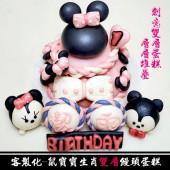 Q坊-客製化生肖主題-鼠寶寶-廸士尼-米妮雙層造型饅頭蛋糕(8吋+6吋)