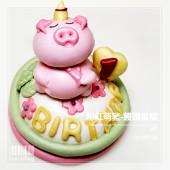 Q坊-豬寶寶的客製化生肖-粉紅豬歡樂帽造型饅頭蛋糕(6吋)