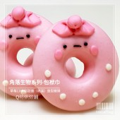 Q坊-角落生物-包袱巾(草莓)甜甜圈之收涎創意造型饅頭