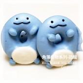 Q坊-角落生物-恐龍(蝶豆花)甜甜圈之收涎創意造型饅頭